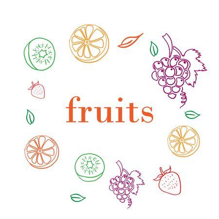 Set of fruits, orange, grape, strawberry, and kiwi outline