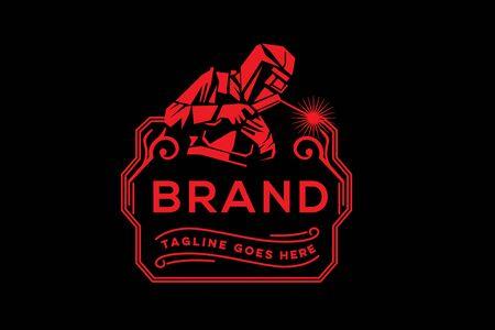 Diseño de logotipo de insignia de empresa de soldadura. Logos