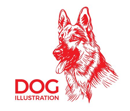 Dogs illustration of inking dog in trendy flat style 일러스트