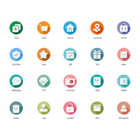 set colorful icons. vintage style suitable for web and app  イラスト・ベクター素材