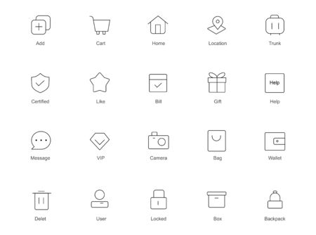 Line art icon set. Collection of high quality black outline icon for web site design and mobile apps  イラスト・ベクター素材