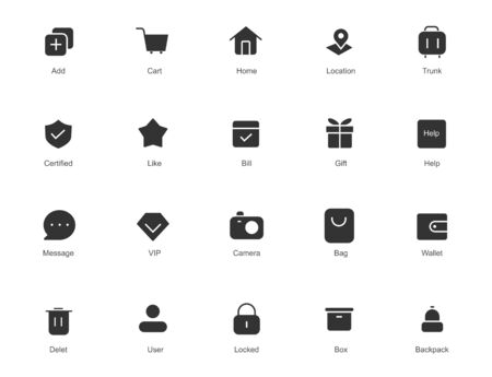 Solid icon set. Collection of high quality solid icon for web site design and mobile apps