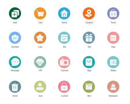 set colorful icons. vintage style suitable for web and app Ilustração