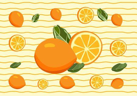 Fruit lemon and illustration of oranges, whole lemons and chunks with pomegranate cut with fruit detail of leaf