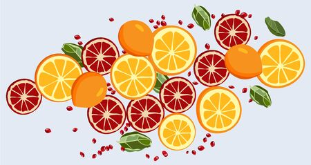 Fruit lemon and peach Pomegranate fruit illustration, simple and looks fresh with bright colors Banco de Imagens - 131646011