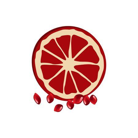 Fruit and peach pomegranate with fruit grains on the side Ilustração