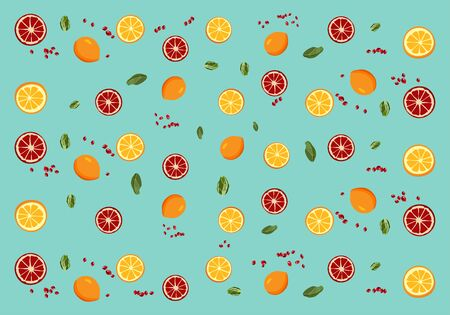 Fruit lemon and peach the composition of oranges, lemons and pomegranates is cut with the details of fruit and pomegranate Ilustração