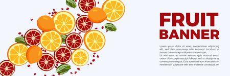 FRUIT illustration of oranges and pomegranate Ilustração