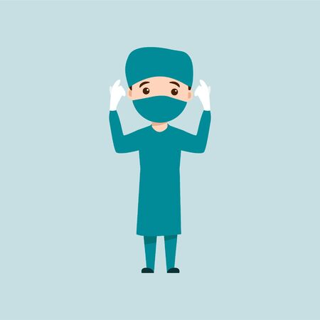 Character Doctor with surgical gown fight the coronavirus, vector illustration