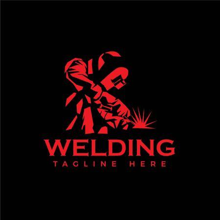 WELDING LOGO welder silhouette working with helmet in simple and modern design style