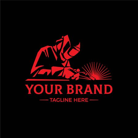 WELDING LOGO Welding company logo design, silhouette of welder working Logo