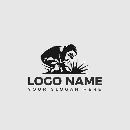 Welding company logo design fron view, WELDER LOGO SIMPLE AND CLEAN LOGO