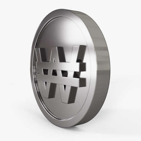 won icon coin left view 3d illustration