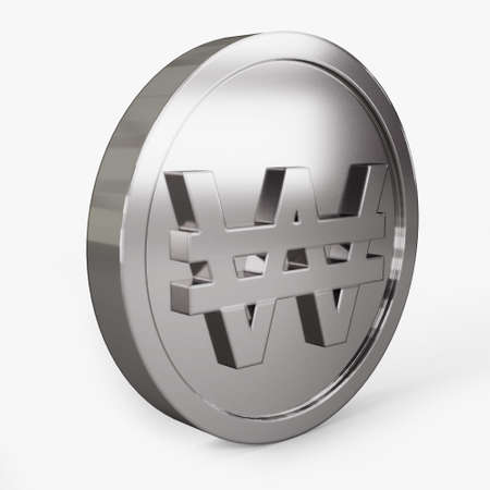 won icon coin right view 3d illustration
