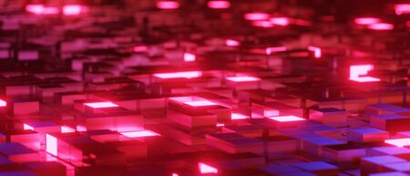 3d render realistic abstract block red light composition. Abstract theme for trendy designs.