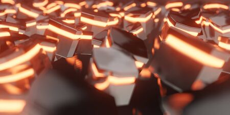 3d render realistic warm light composition. Abstract theme for trendy designs.