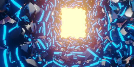 3d render realistic blue light abstract space composition. Abstract theme for trendy designs.