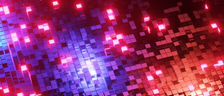 3d render realistic abstract block blue light composition. Abstract theme for trendy designs. 版權商用圖片