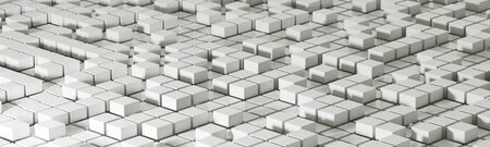 3d render realistic abstract white block composition. Abstract theme for trendy designs.