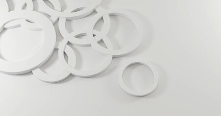 : 3d render realistic random circle composition. Abstract theme for trendy designs.