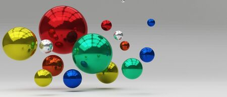 3d render realistic abstract ball multiple color composition. Abstract theme for trendy designs. 版權商用圖片