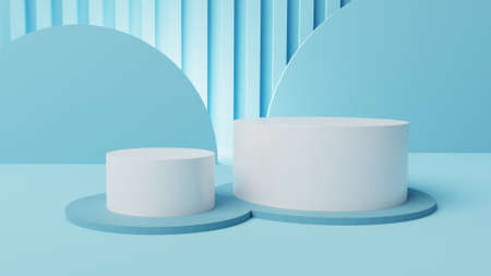 mockup 2 stage white cylinder display with soft blue abstract background 3d illustration 版權商用圖片