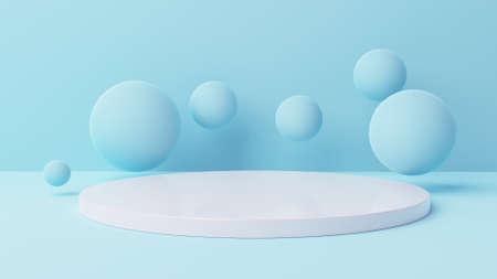 mockup white cylinder display with soft blue background 3d illustration 版權商用圖片