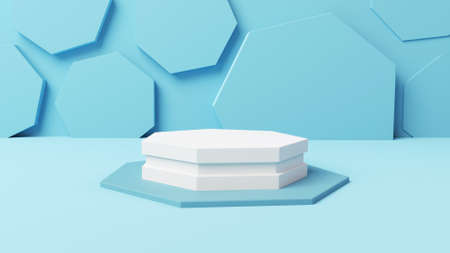 mockup white singgle pentagonal display with soft blue abstract background 3d illustration