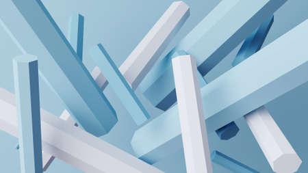 random pentagonal stick illustration 3d render illustration