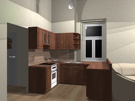 3d rendering of dinette with kitchen units Stock Photo