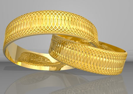 3d rendering two golden rings, in yellow colour Stock Photo - 1615368
