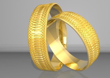 3d rendering two golden rings, in yellow colour