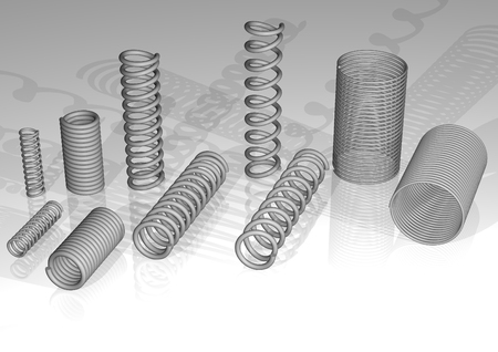 3d rendering, a few kinds of springs Stock Photo