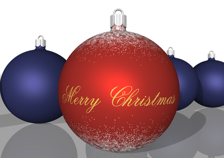 3d rendering, red and blue bulbs on Christmas time photo