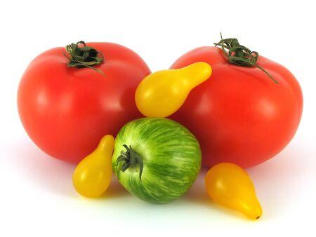 three kinds of tomatos no white background Stock Photo