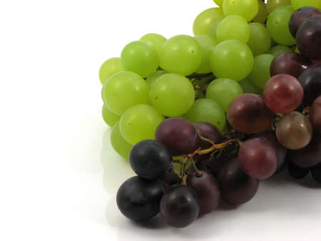 the natural sweet grapes on white background Stock Photo