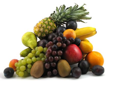 composition of fresh fruits on white background Stock Photo - 1859245