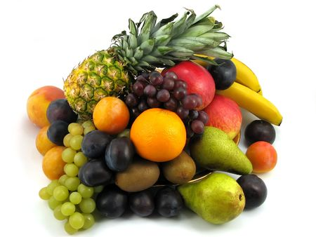 composition of fresh fruits on white background