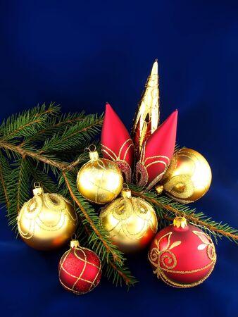Red and yellow bulbs on Christmas tree Stock Photo - 1945106