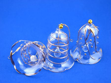 three bells on blue background, decoration christmas tree Stock Photo - 2034236