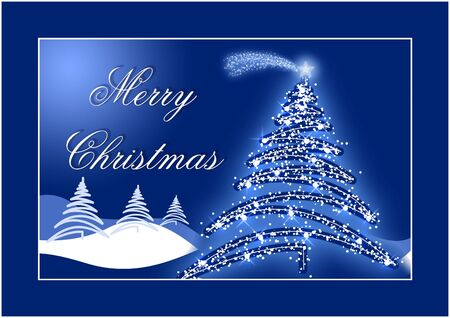 Blue Christmas postcard with star on the top