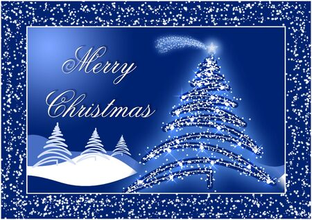 Blue Christmas postcard with trees and snow Stock Photo