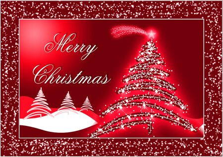 Red Christmas postcard with trees and snow Stock Photo - 2046300