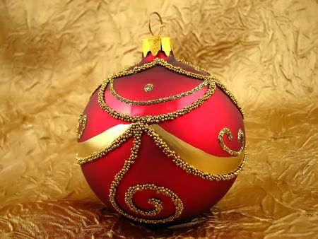 One red bulb on the gold background Stock Photo - 2053944