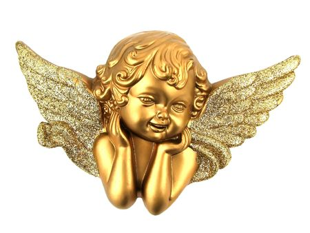 Small Gold Angel isolated on white background