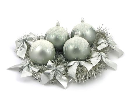 Silver bulbs with ribbon on white background Stock Photo - 2120819