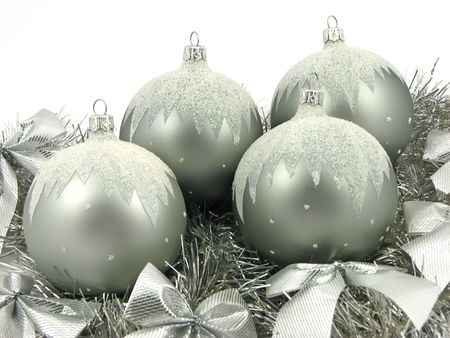 Silver bulbs with ribbon on white background Stock Photo - 2120821