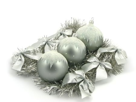 Silver bulbs with ribbon on white background Stock Photo - 2120820