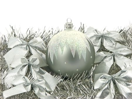 One silver bulb with ribbons