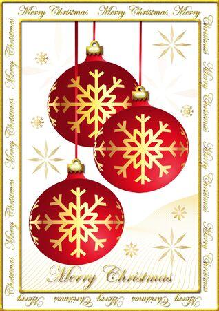 Christmas postcard with bulbs and snowflakes